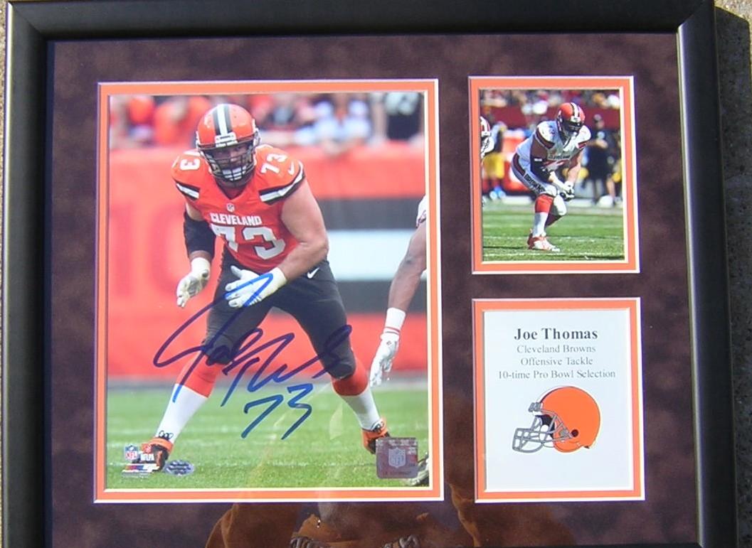 huge selection of 66bda e7000 Joe Thomas Signed and Framed 8x10 Photo Orange Jersey