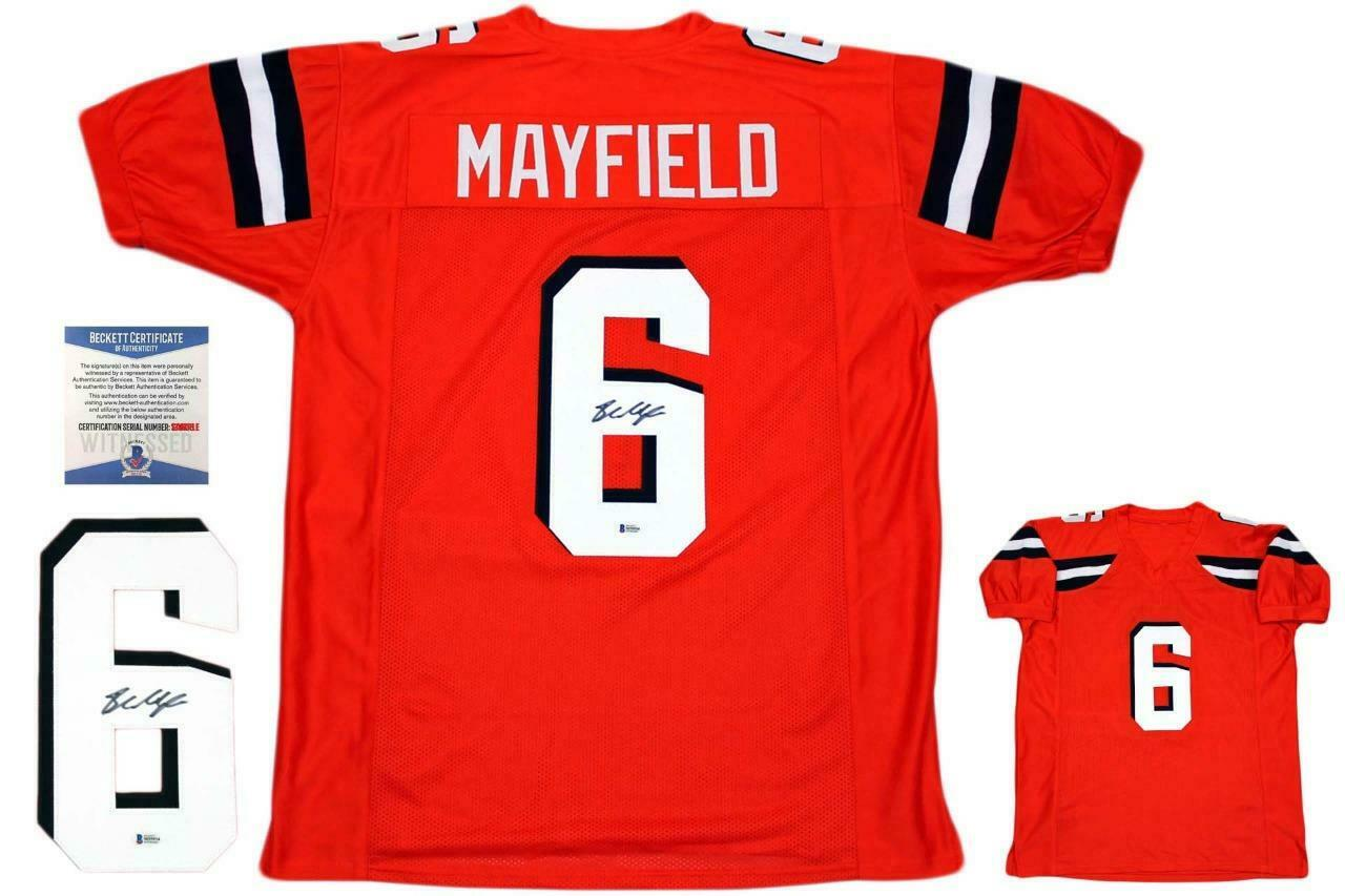 check out fc475 779f6 Baker Mayfield Signed Orange Jersey JSA