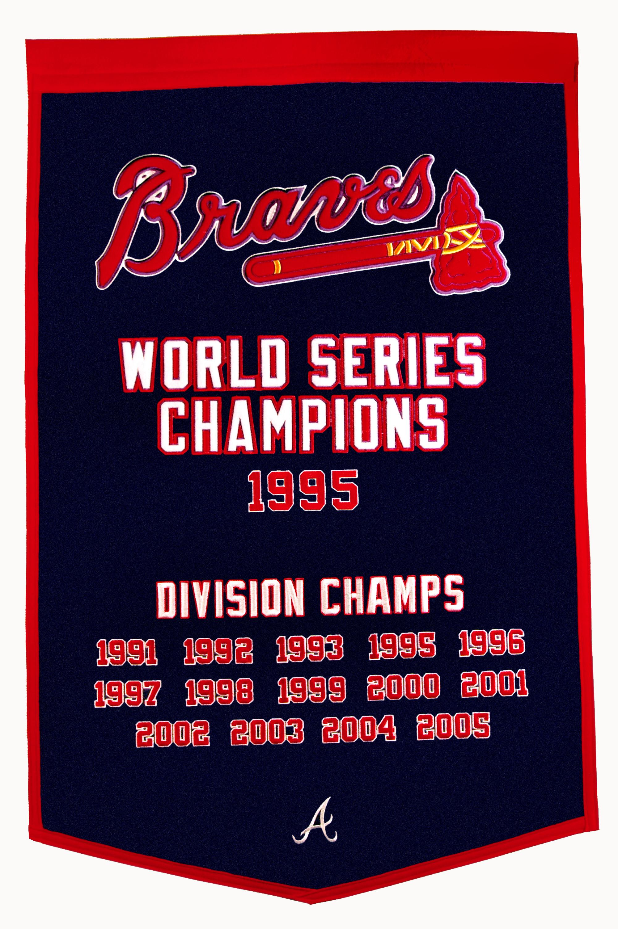 big sale 6764e 8d616 Atlanta Braves Championships Wool Banner 24 x 36